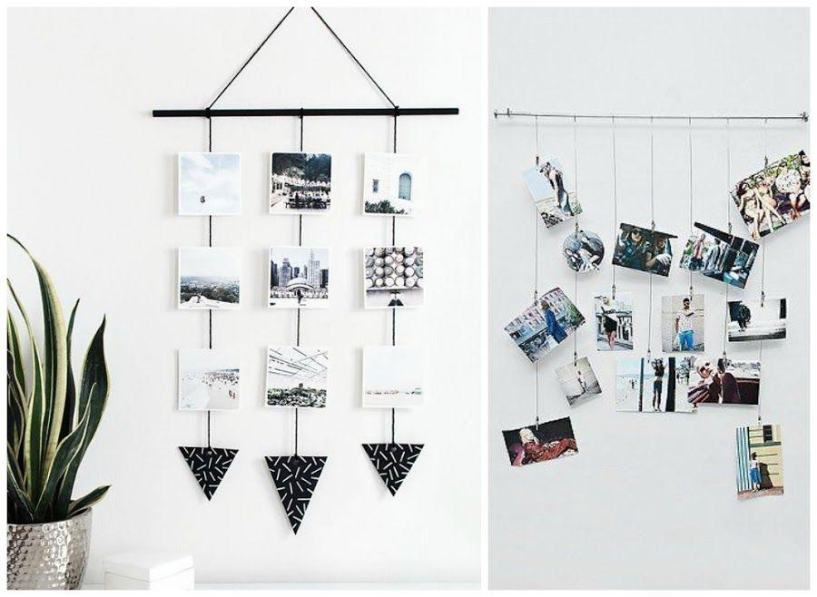 Fotos colgadas de la pared mediante hilos y cuerdas