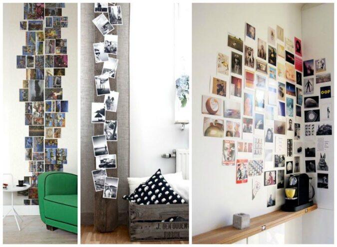 Distintas configuraciones y formas de disponer las fotos en la pared